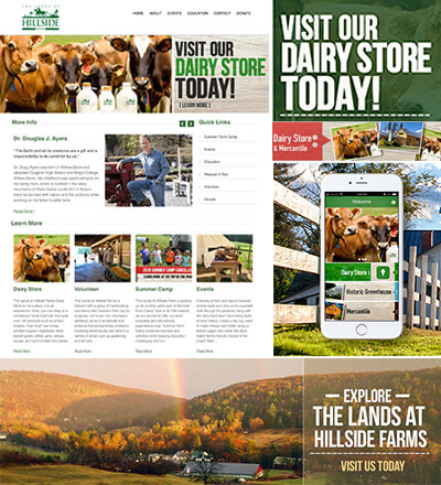 As part of the project we redesigned the Lands at Hillside Farms website to reflect the overall branding of the web app, micro kiosks and AR Cards/Decks.